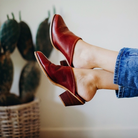 Vintage Oxblood Mules Maroon Red